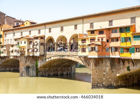 Florence, Tuscany, Italy - June, 06, 2016: Ponte Vecchio (Old Bridge) across the Arno river in the centre of Florence.