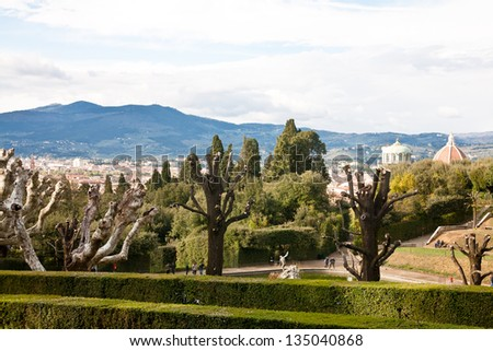 Florence view from the top of Boboli garden - stock photo