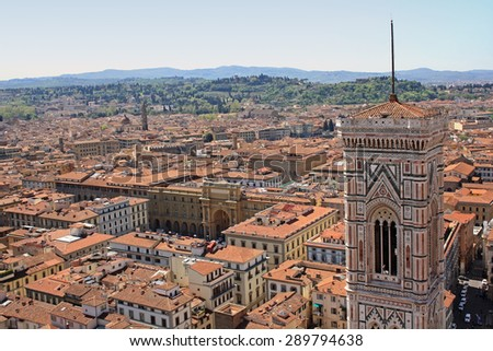 Florence view with Giottos Campanile - stock photo