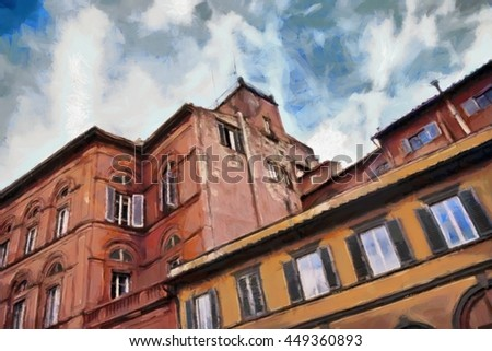 Florence watercolor illustration. Italy.