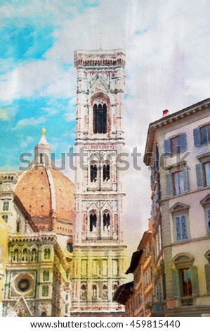 Florence watercolor painting