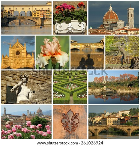 florentine collage- images of wonderful Florence, Italy  - stock photo
