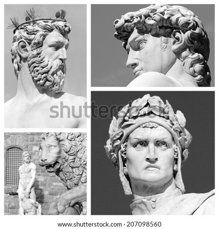 florentine sculptures collage, Italy, Europe - stock photo