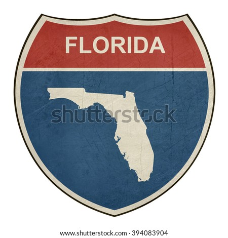 Florida American interstate highway road shield isolated on a white background. - stock photo