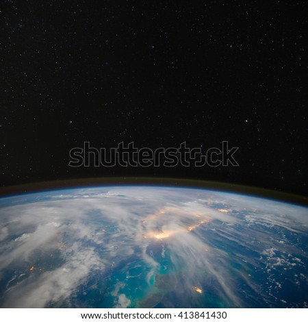 Florida at night with stars above. Elements of this image furnished by NASA. - stock photo