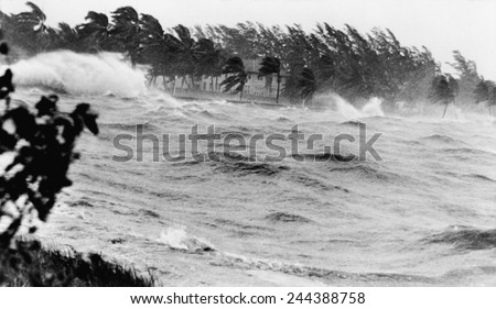 Florida coastline pounded by Hurricane # 9 of the 1945 hurricane season, the second category four storm of the season. From September 12-18 it traveled from the Bahamas into Florida and East Coast. - stock photo