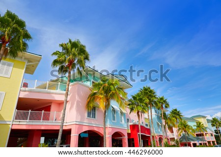 Florida Fort Myers colorful facades and palm trees in USA - stock photo