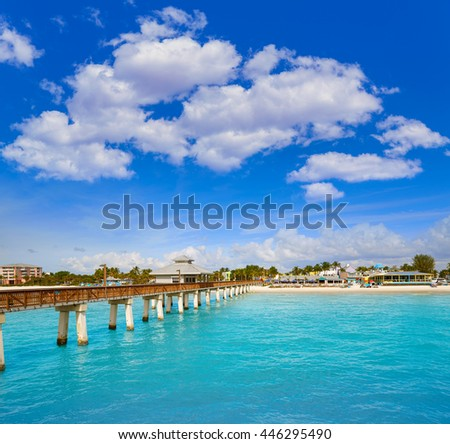 Florida Fort Myers Pier beach in USA - stock photo