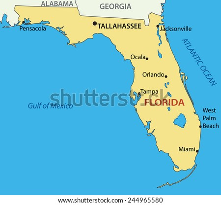 Florida - map - stock photo