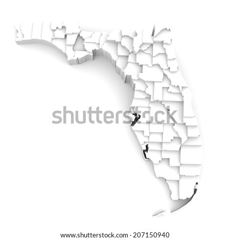 Florida Map By Counties Various High Stock Illustration - Florida map with counties