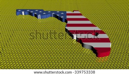 Florida map flag on golden dollars coins illustration - stock photo
