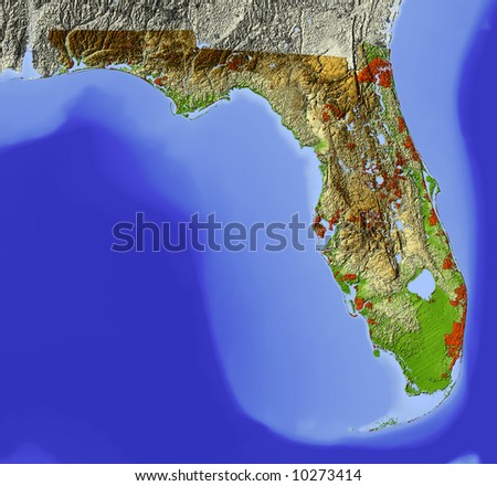 Florida shaded relief map shows major stock illustration 10273414 shaded relief map shows major urban areas surrounding territory greyed out publicscrutiny Gallery