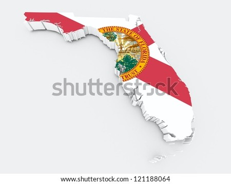florida state flag on 3d map - stock photo