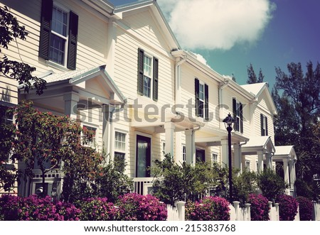 Florida Style Beach Houses With Instagram-type Filter Effect - stock photo