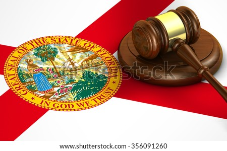 Florida US state law, code, legal system and justice concept with a 3d render of a gavel on the Floridan flag on background.