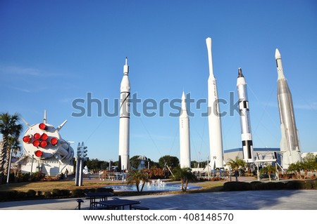 FLORIDA, USA - DEC 20: Rocket Garden in Kennedy Space Center Visitor Complex on Dec. 20, 2010 in Cape Canaveral, Florida, USA.  - stock photo
