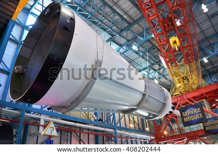 FLORIDA, USA - DEC 20: Saturn V Rocket Service Module displayed in Apollo Saturn V Center, Kennedy Space Center Visitor Complex on Dec. 20, 2010 in Cape Canaveral, Florida, USA. - stock photo
