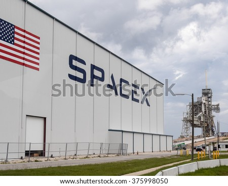 FLORIDA, USA, 13th August 2015, Spacex building with Launch pad 39 at Cape Canaveral, Kennedy Space Center with blue cloudy sky background. Elements of this image furnished by NASA. - stock photo