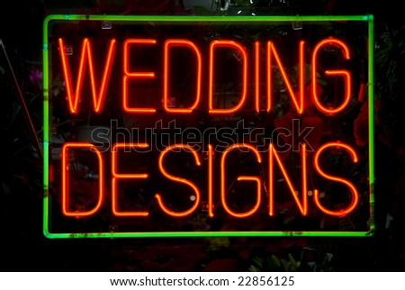 Florist's neon sign in the window of a Harlem, New York City store - stock photo