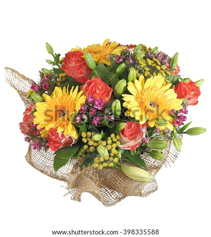 Floristic composition arrangement, floral bouquet includes yellow gerbera, orange roses, lily buds,  isolated on white background. - stock photo