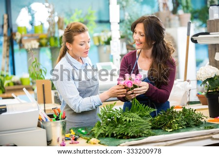 Florists making bouquet of pink roses in flower shop - stock photo