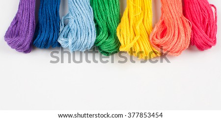 Floss. Set of colored threads for embroidery isolated on white background