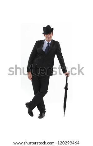 Flossy man with umbrella - stock photo