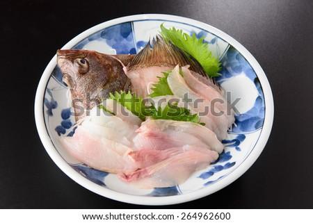 Flounder sashimi raw fish - stock photo
