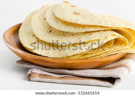flour and corn tortillas - stock photo