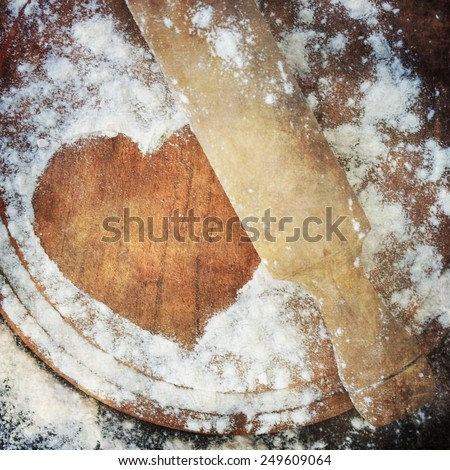flour and roller, vintage style - stock photo