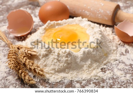 flour,egg and rolling pin