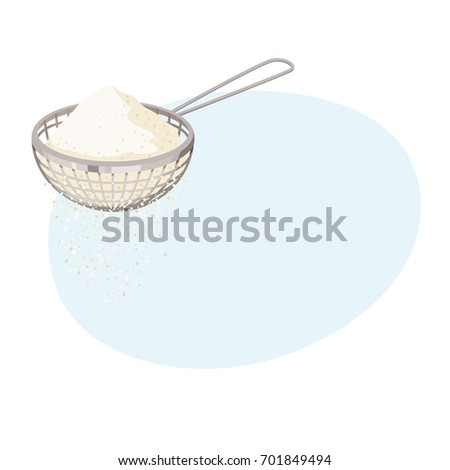 flour sifter sieve on cup baking stock vector shutterstock