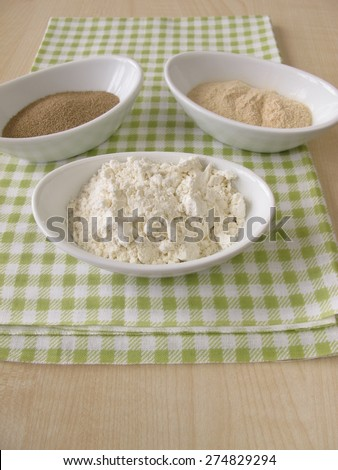 Flour, sourdough extract and bakers yeast - stock photo