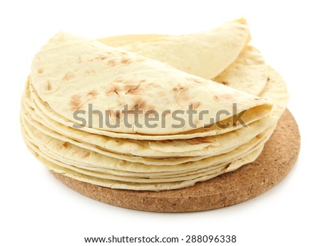 Flour tortillas isolated on white