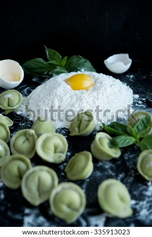 flour with crude egg