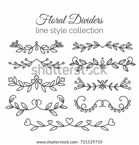 Flourishes Hand Drawn Dividers Set Line Stock Vector
