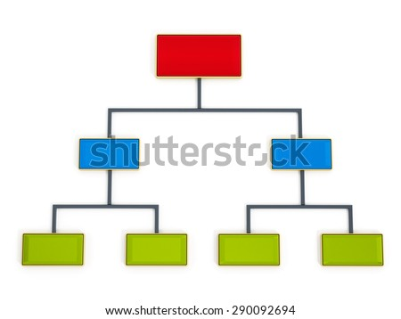 Flow chart in red, blue and green color tones isolated on white background - stock photo