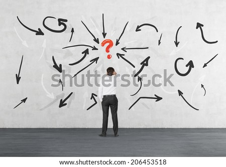 Flow chart of the brainstorming process. Arrow, question mark and young businessman. - stock photo