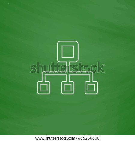 Flow Chart Outline Icon Imitation Draw Stock Illustration 666250600