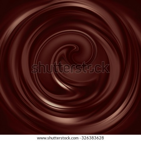 flow of liquid chocolate full screen as background - stock photo