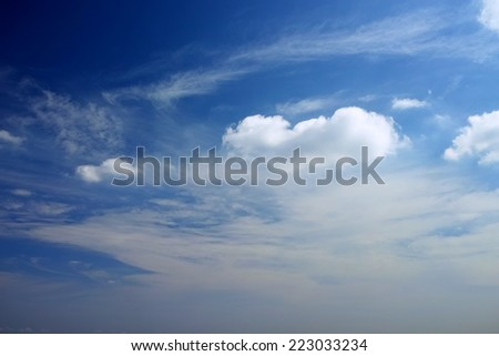 Flow of white clouds on blue sky background