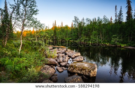 Flow to the north during summer white nights - stock photo