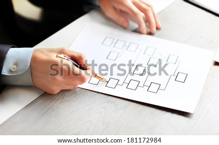 flowchart with empty boxes shows business structure - stock photo