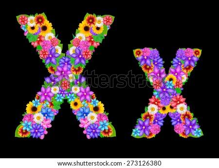 Flower alphabet isolated on black - stock photo