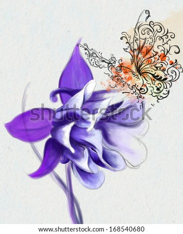 flower and butterfly collection - stock photo