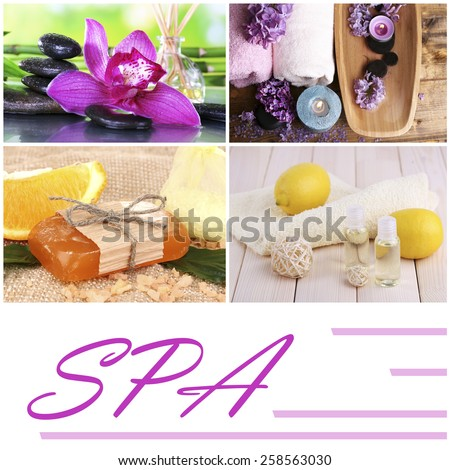 Flower and citrus spa compositions in collage - stock photo