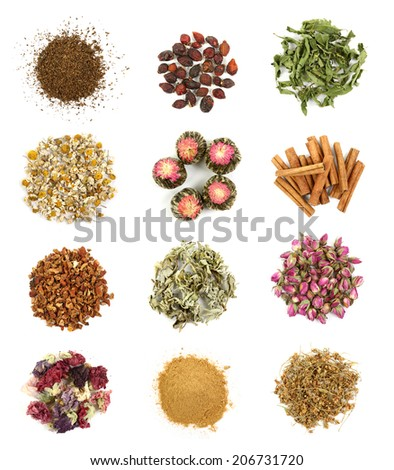 Flower and herbal tea collection isolated on white background - stock photo