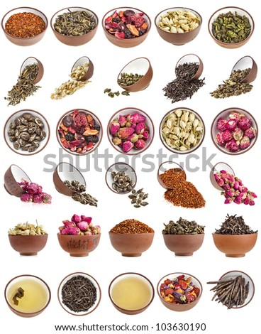 Flower and herbal tea  in clay teacup Collection Collage Set Close up Macro shot isolated on white - stock photo