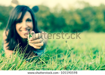 flower and meadow - stock photo