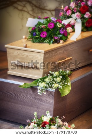 flower arrangement  for funeral - stock photo